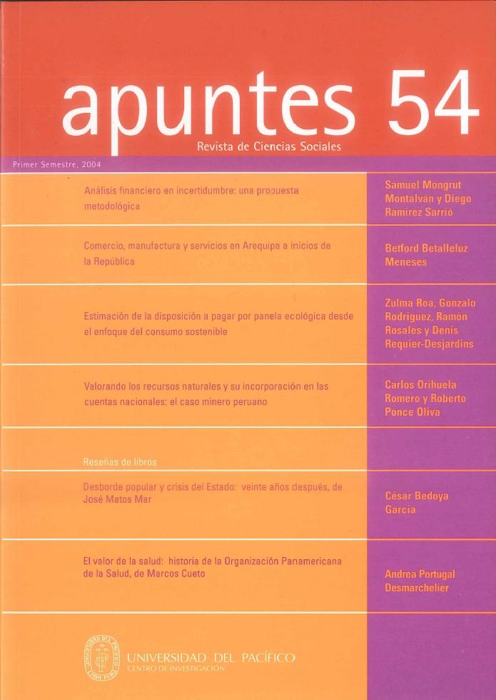 Apuntes 54 | Apuntes. Revista de ciencias sociales